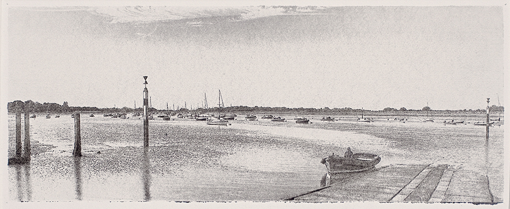 """Bosham Harbour At Low Tide"" © Alan Glover. Approx 13.5x5"" handcrafted gum bichromate print from a single negative  using watercolour pigments on Hahnemuhle Platinum Rag paper. GALLERY5X7 offers this original print, signed on the mount (mount size 17.5x9""), at $250."