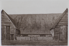 """Leigh Court Barn"" © Alan Glover. Approx 11x7.5"" handcrafted gum bichromate print from a single negative using watercolour pigments on Hahnemuhle Platinum Rag paper. GALLERY5X7 offers this original print, signed on the mount (mount size 16x12""), at $250."