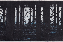 """Worthing Pier"" © Alan Glover. Approx 13.5x5"" handcrafted gum bichromate print from 2 negatives using watercolour pigments on Hahnemuhle Platinum Rag paper. GALLERY5X7 offers this original print, signed on the mount (mount size 17.5x9""), at $250."