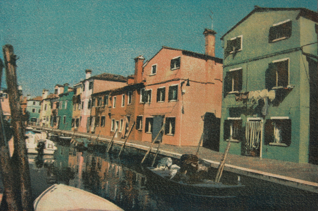 """""""City Of The Sun 2"""" © Ana Melnikova. From the series """"City of the Sun"""" The Venetian Lagoon. Burano, Italy. Approx. 7x11"""" (18.5x27.5cm) handcrafted alternative process photograph (gum bichromate print, four natural-pigment color layers on Lana watercolor paper). GALLERY5X7 offers this original, signed print at $500."""