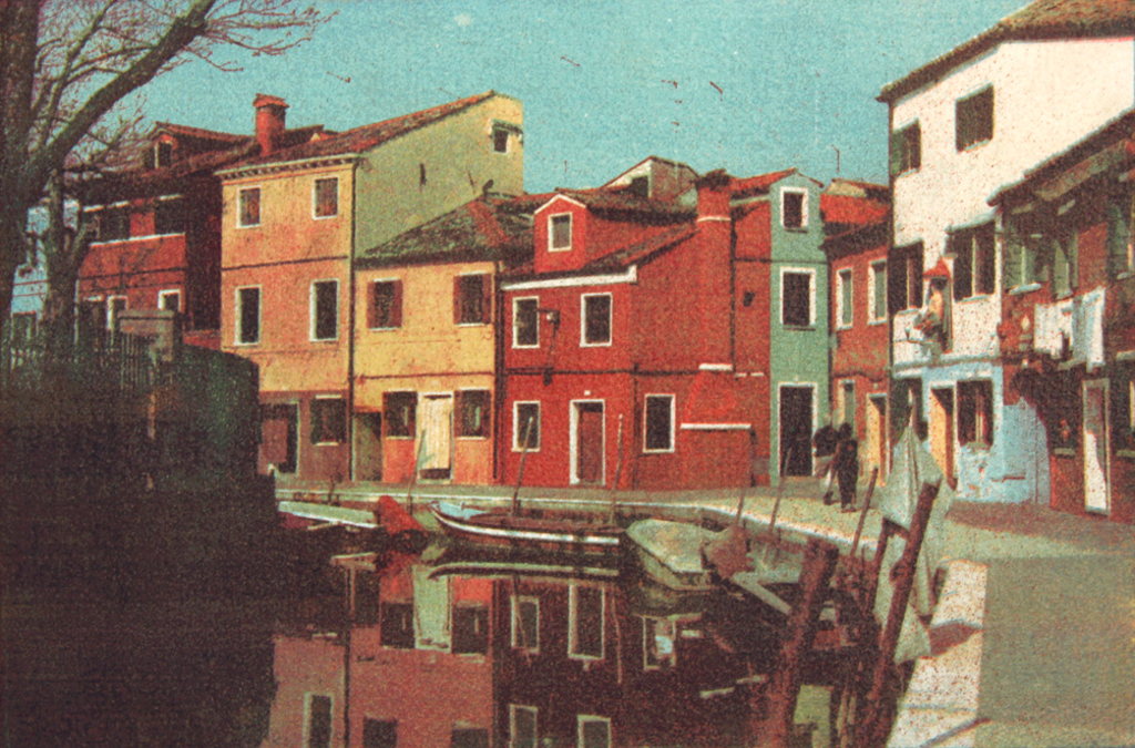"""""""City Of The Sun 3"""" © Ana Melnikova. From the series """"City of the Sun"""" The Venetian Lagoon. Burano, Italy. Approx. 7x11"""" (18.5x27.5cm) handcrafted alternative process photograph (gum bichromate print, four natural-pigment color layers on Lana watercolor paper). GALLERY5X7 offers this original, signed print at $500."""