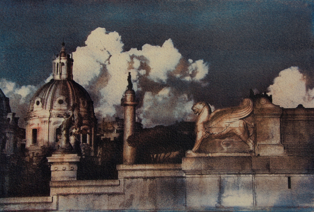 """""""Greatness Of Rome"""" © Ana Melnikova. Rome, Italy. Approx. 8x11"""" (19.5x29cm) handcrafted alternative process photograph (gum bichromate print from a single negative, six natural-pigment color layers on Lana watercolor paper). GALLERY5X7 offers this original, signed print at $500."""