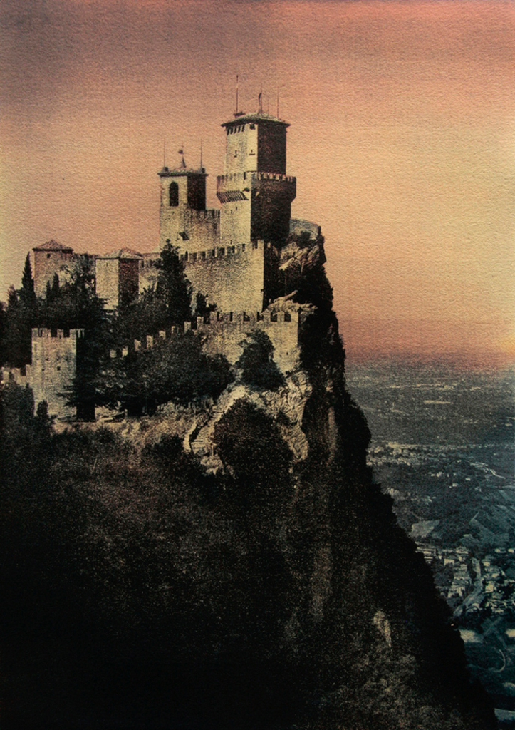 """""""The Fortress Of Guaita On Mount Titano"""" © Ana Melnikova. Republic of San Marino. Italy. Approx. 16x11"""" (41x29cm) handcrafted alternative process photograph (gum bichromate print from a single negative, four natural-pigment color layers on Lana watercolor paper). GALLERY5X7 offers this original, signed print at $750."""