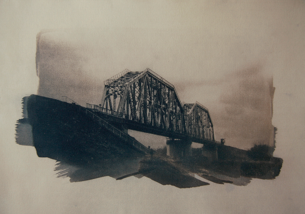 """""""The Last Bridge 1"""" © Ana Melnikova. Approx. 11x15"""" (28x38cm) handcrafted alternative process photograph (original cyanotype print, double toning on Fabriano Artistico paper from a digital negative). Offered by GALLERY5X7 as a single print at $400, tryptich series (1, 2 and 3) at $1,000."""