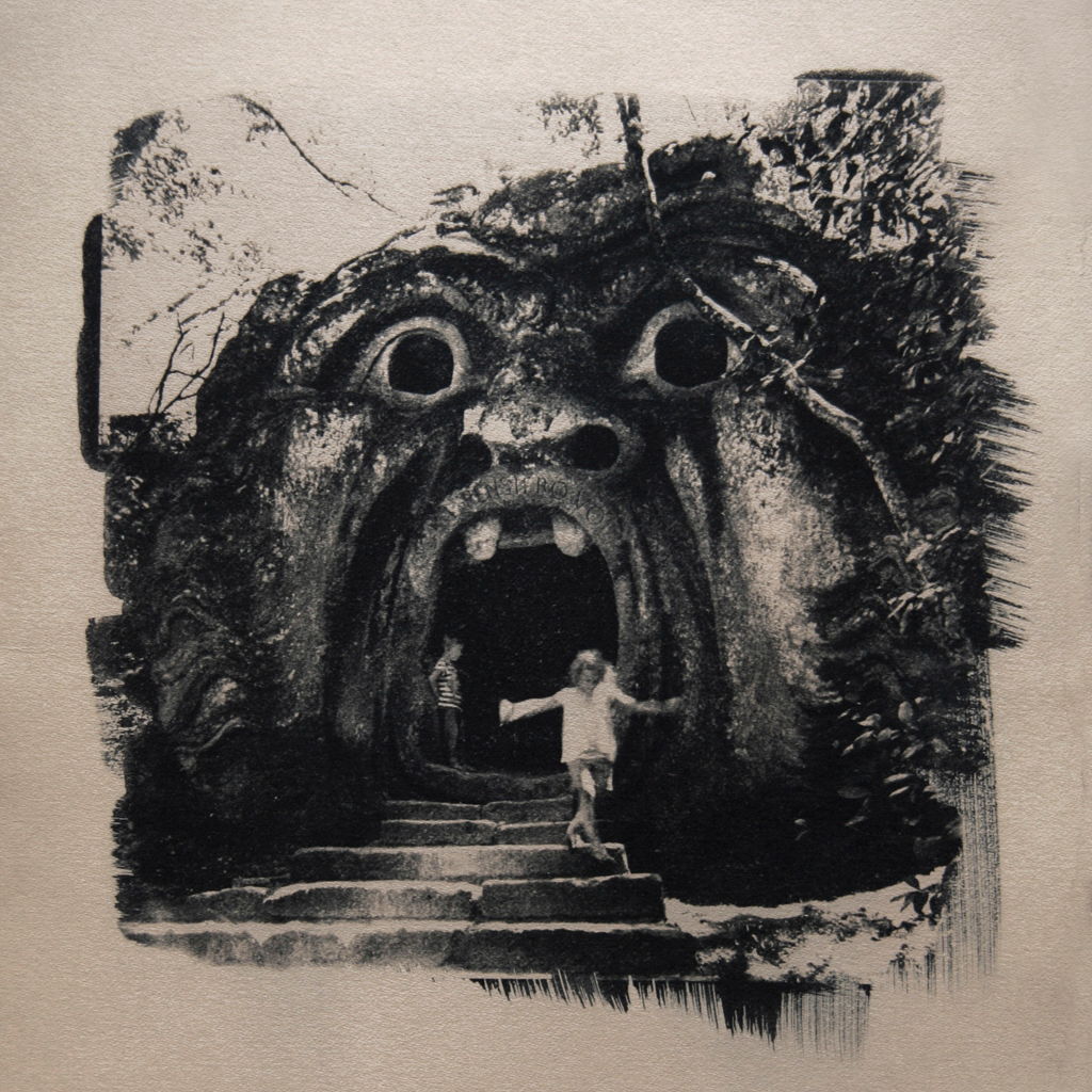 """""""The Sacro Bosco 1"""" © Ana Melnikova. From the series """"The Sacro Bosco"""" Bomarzo, Italy. Approx. 10x10"""" (25x25cm) handcrafted alternative process photograph (original cyanotype print, double toning on Fabriano Artistico paper from a digital negative). GALLERY5X7 offers this original, signed print at $400."""