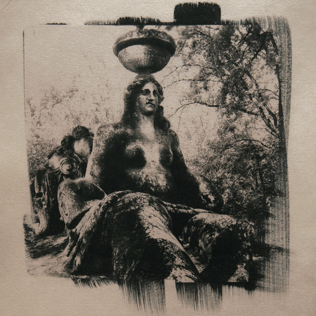 """""""The Sacro Bosco 3"""" © Ana Melnikova. From the series """"The Sacro Bosco"""" Bomarzo, Italy. Approx. 10x10"""" (25x25cm) handcrafted alternative process photograph (original cyanotype print, double toning on Fabriano Artistico paper from a digital negative). GALLERY5X7 offers this original, signed print at $400."""
