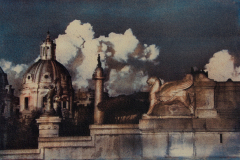 """Greatness Of Rome"" © Ana Melnikova. Rome, Italy. Approx. 8x11"" (19.5x29cm) handcrafted alternative process photograph (gum bichromate print from a single negative, six natural-pigment color layers on Lana watercolor paper). GALLERY5X7 offers this original, signed print at $500."