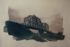 """The Last Bridge 1"" © Ana Melnikova. Approx. 11x15"" (28x38cm) handcrafted alternative process photograph (original cyanotype print, double toning on Fabriano Artistico paper from a digital negative). Offered by GALLERY5X7 as a single print at $400, tryptich series (1, 2 and 3) at $1,000."
