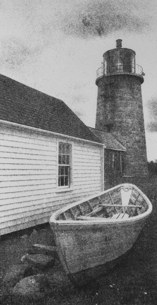 """""""Monhegan Light and Skiff"""" © David Aimone. Offered by GALLERY5X7."""