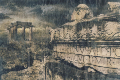 """Roman Dawn"" © Alex Mavromaras. Storm building behind a Roman temple in ancient Corinth. Approx. 9.5x7"" (24x18cm) handcrafted alternative process photograph (toned cyanotype on vellum, etched and painted over with drawing and watercolor pencils). GALLERY5X7 offers this signed, original print at $250."
