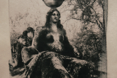 """The Sacro Bosco 3"" © Ana Melnikova. From the series ""The Sacro Bosco"" Bomarzo, Italy. Approx. 10x10"" (25x25cm) handcrafted alternative process photograph (original cyanotype print, double toning on Fabriano Artistico paper from a digital negative). GALLERY5X7 offers this original, signed print at $400."