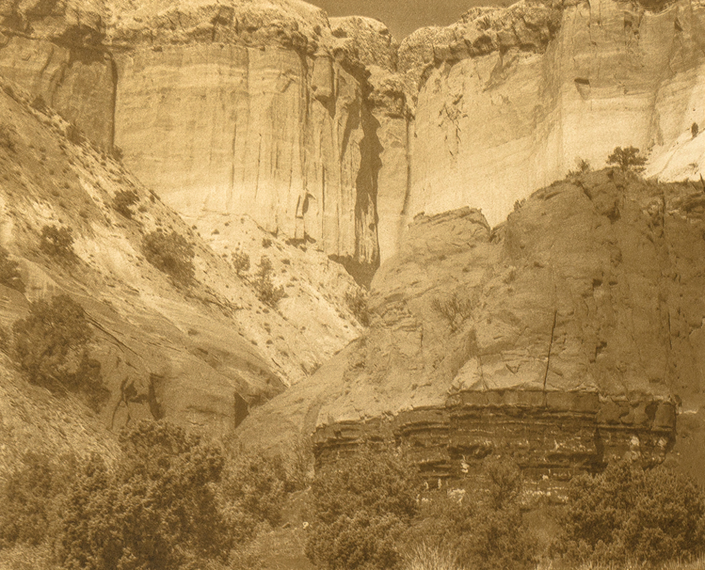 """""""Rio Arriba County Near Ghost Ranch New Mexico"""" © Tom Wise. Escarpment in Rio Arriba County near Ghost Ranch New Mexico on road to Christ in the Desert Monastery. Approx. 6x7.5"""" (15.2x19.1cm) handcrafted alternative process photograph (gum bichromate over palladium-toned kallitype). GALLERY5X7 offers this signed, editioned original print at $250."""