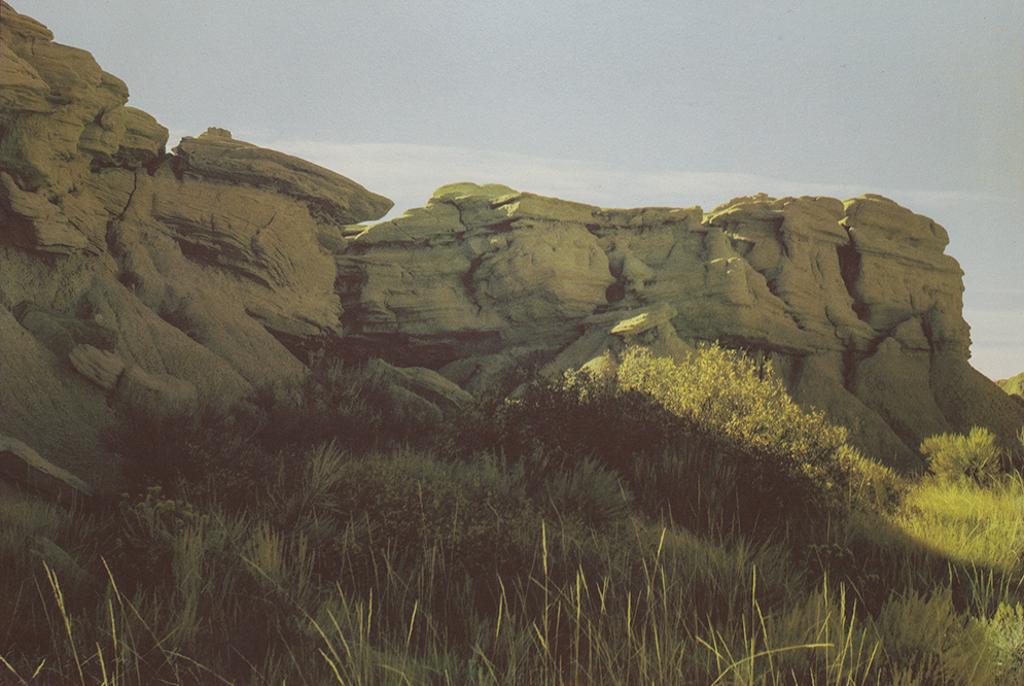 """Toadstool Geologic Park Nebraska"" © Tom Wise. Toadstool Geologic Park in Oglala National Grassland Sioux County Nebraska. Approx. 14x21"" (35.6x53.3cm) handcrafted alternative process photograph (gum bichromate over cyanotype). GALLERY5X7 offers this signed, original print at $1,000."