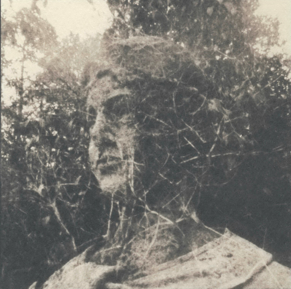 """Amalgamation 2, Toned"" © Victor Senkov. Print from handmade pinhole plate from vintage Soviet Svema B/W film. Approx. 5.1x5.1"" (13x13cm) handcrafted alternative process photograph (cyanotype, toned). GALLERY5X7 offers this signed, numbered and stamped original artist print at $250."