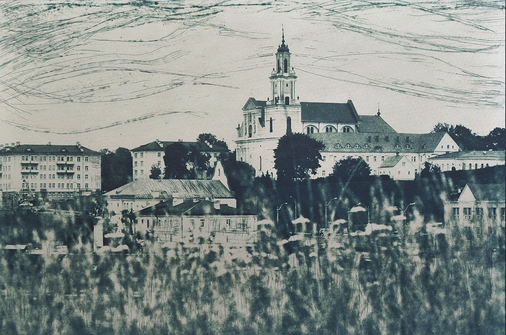 """Grodno, Belarus"" © Victor Senkov. ""Grodno, Belarus"" is a part of the series ""Cityscape from the river side."" Approx. 7.7x11"" (19.5x28.5cm) handcrafted alternative process photograph (cyanotype, toned from dry point and pencil over paper negative). GALLERY5X7 offers this signed, numbered and stamped original artist print at $250."