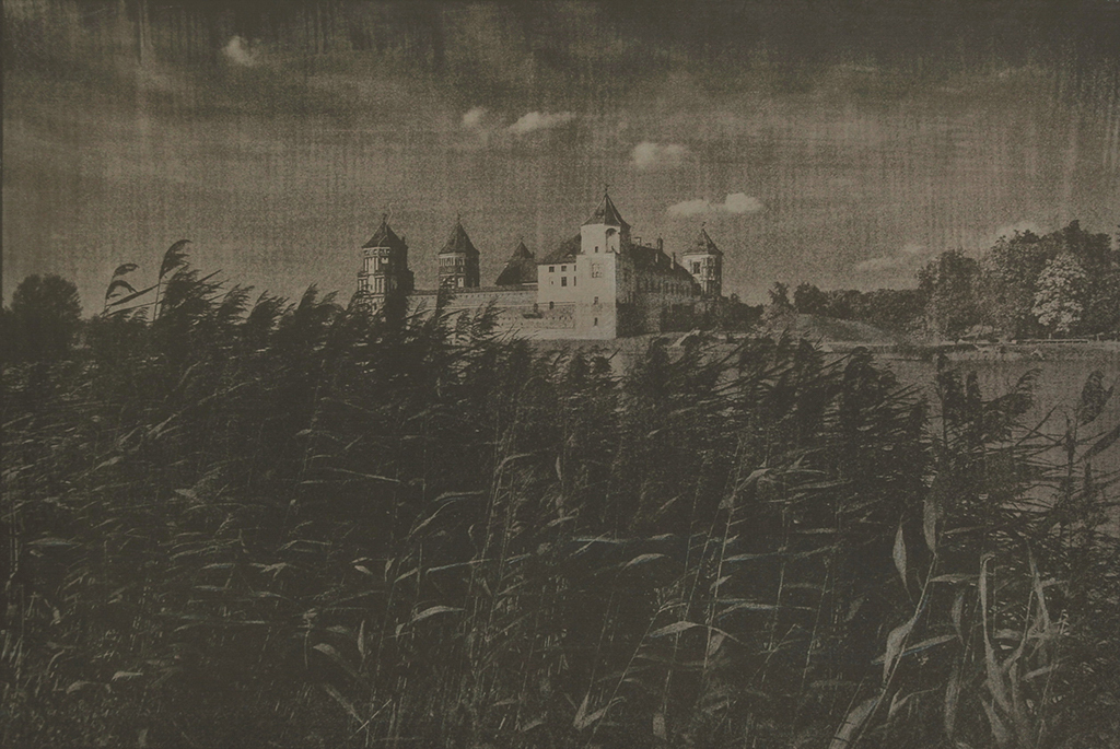 """Mir Castle, Belarus"" © Victor Senkov. ""View to the Mir Castle Complex, a UNESCO World Heritage site in Belarus."" Approx. 7.7x11"" (19.5x28.5cm) handcrafted alternative process photograph (cyanotype, toned). GALLERY5X7 offers this signed, numbered and stamped original artist print at $250."