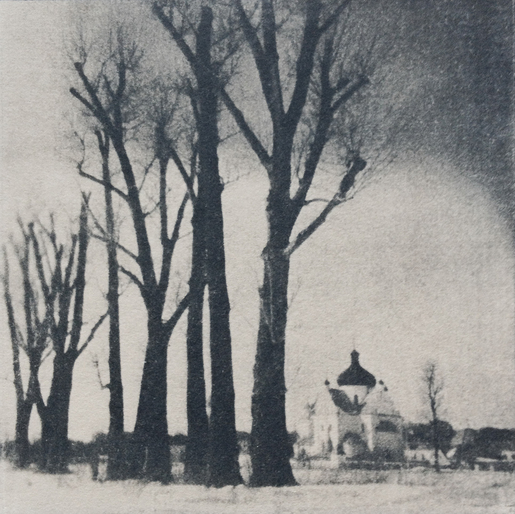 """Nunnery"" © Victor Senkov. Print from handmade pinhole plate from vintage Soviet Svema B/W film. Approx. 5.1x5.1"" (13x13cm) handcrafted alternative process photograph (cyanotype, toned). GALLERY5X7 offers this signed, numbered and stamped original artist print at $250."