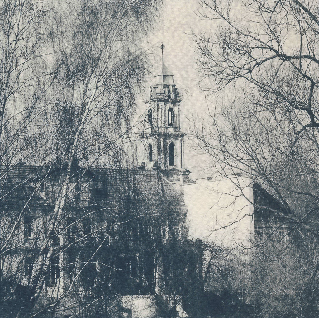 """Vilnius II"" © Victor Senkov.  Print from handmade pinhole plate from vintage Soviet Svema B/W film. Approx. 5.1x5.1"" (13x13cm) handcrafted alternative process photograph (cyanotype, toned). GALLERY5X7 offers this signed, numbered and stamped original artist print at $250."