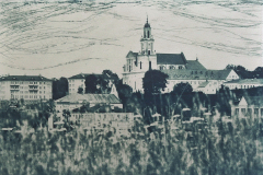 """""""Grodno, Belarus"""" © Victor Senkov. """"Grodno, Belarus"""" is a part of the series """"Cityscape from the river side."""" Approx. 7.7x11"""" (19.5x28.5cm) handcrafted alternative process photograph (cyanotype, toned from dry point and pencil over paper negative). GALLERY5X7 offers this signed, numbered and stamped original artist print at $250."""
