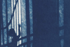 """""""Orpheus"""" © Victor Senkov. Print from handmade pinhole plate from vintage Soviet Svema B/W film. Approx. 5.1x5.1"""" (13x13cm) handcrafted alternative process photograph (cyanotype, toned). GALLERY5X7 offers this signed, numbered and stamped original artist print at $250."""